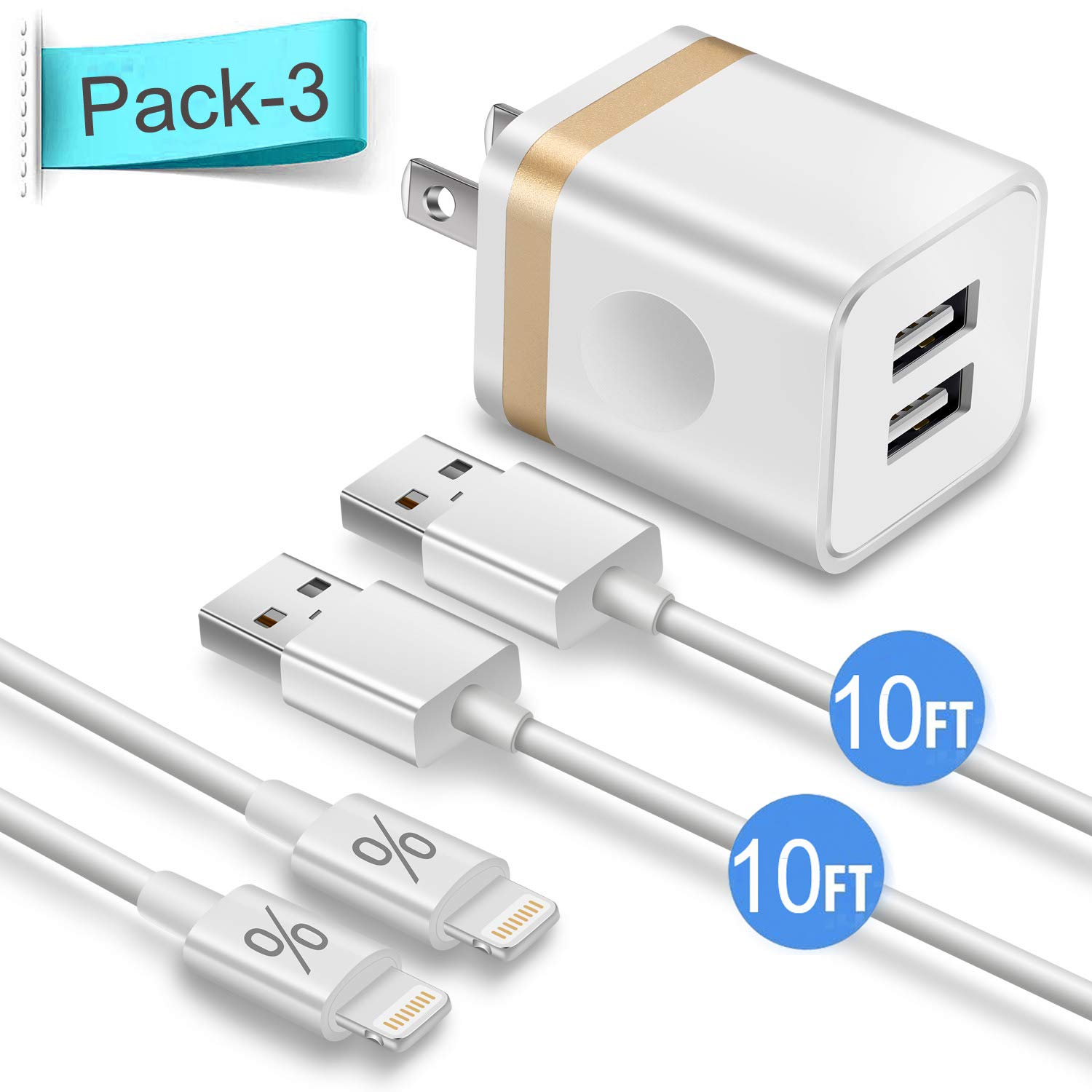 Phone Charger 10ft with Wall Plug, FIMARR 2-Pack 10-Feet Long Charging Cable and Dual USB Wall Charger Adapter Block (2.1A/5V) Compatible with iPhone ...