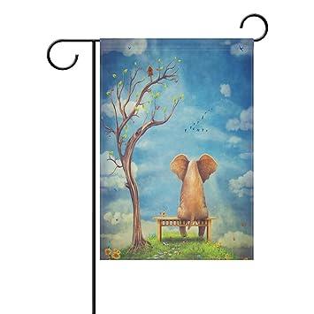 Amazon wozo sad elephant sitting on bench oil painting wozo sad elephant sitting on bench oil painting garden flag bird butterfly 12quot x 18quot sciox Choice Image