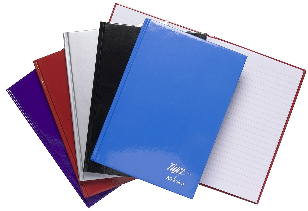 5 x A5 Casebound Hardback Notebook Feint Ruled 80 Sheet Coloured Cover Note Pads OWL