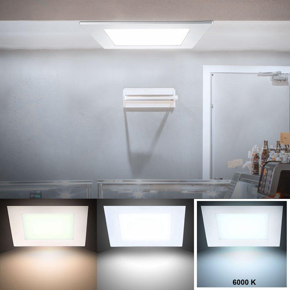 2er Set 18 Watt LED Einbau Panel Leuchten ALU Wohnraum Decken Tageslicht Lampen