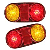 Hitommy 2X Waterproof 12V 14LEDs Rear Tail Lights Turn Signal Lamps for Boat Trailer UTE Camper Truck