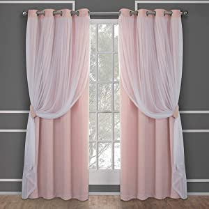 Exclusive Home Curtains Catarina Layered Solid Blackout and Sheer Window Curtain Panel Pair with Grommet Top, 52x96, Rose Blush, 2 Piece