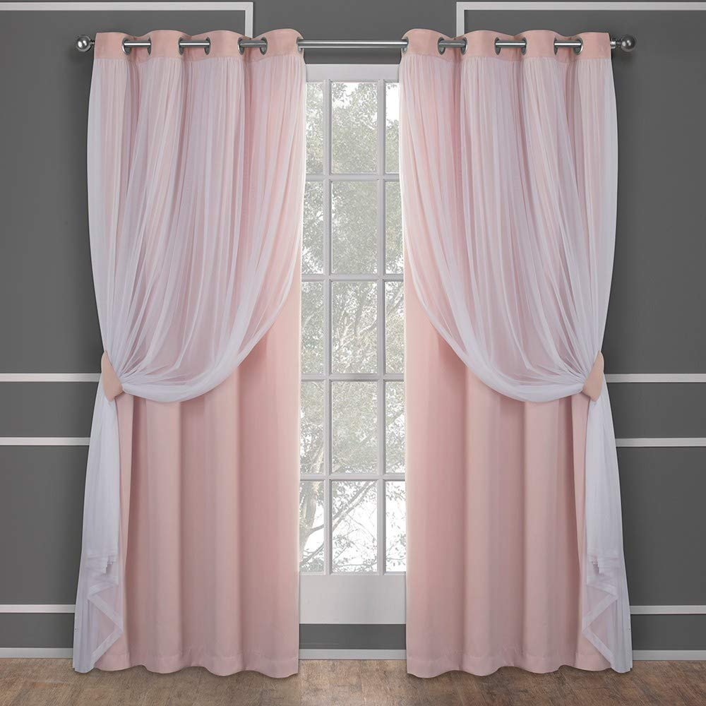 Exclusive Home Curtains Catarina Layered Solid Blackout and Sheer Window Curtain Panel Pair with Grommet Top, 52x84, Rose Blush, 2 Piece