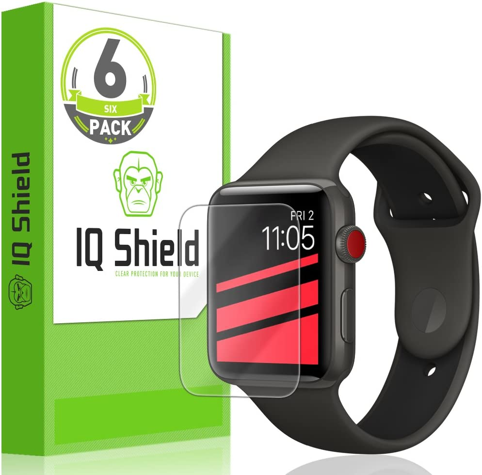 IQ Shield Screen Protector Compatible with Apple Watch 42mm (Apple Watch Nike+, Series 3, 2, 1)(6-Pack) Anti-Bubble Clear Film