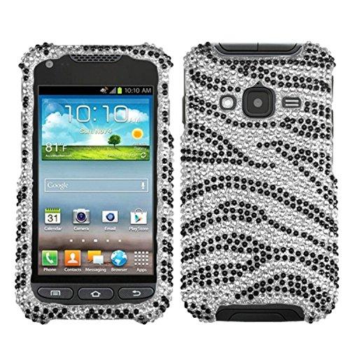 Asmyna SAMI547HPCDM010NP Dazzling Diamond Diamante Case for Samsung Galaxy Rugby Pro i547 - 1 Pack - Retail Packaging - Black Zebra