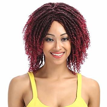 Pelucas Cortas Rizadas Animosas para Las Mujeres Negras Rizada Sintética del Pelo Mezclado Color DE 12