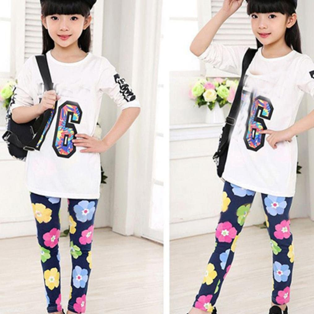 BURFLY Kids Girls Floral Print Classic Tight Pants Leggings 2-13 Ages
