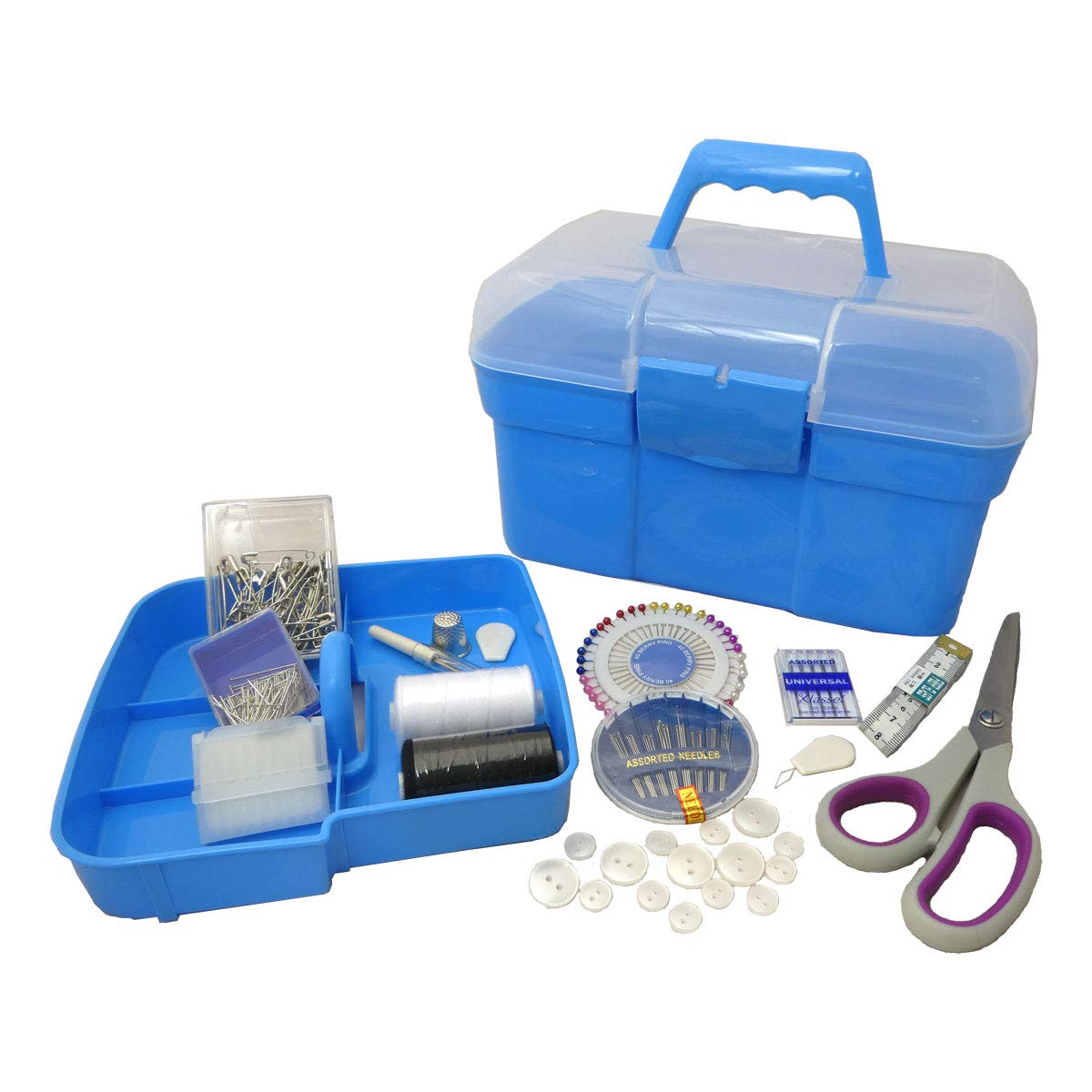 Hemline A2076/G001 | Blue Plastic Deluxe Sewing Kit