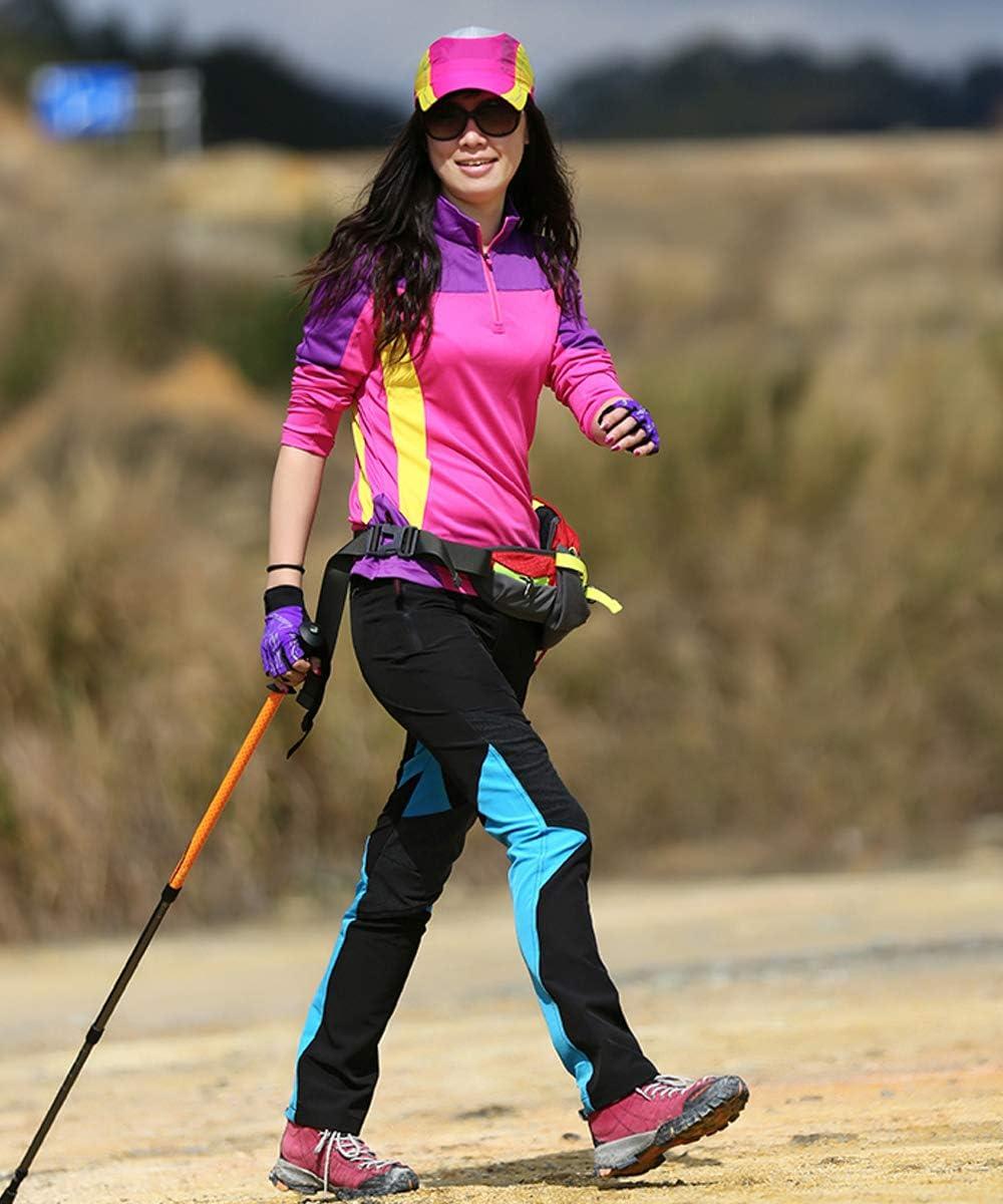 LY4U Mujer de Secado r/ápido Impermeable Ligero Estiramiento Senderismo Pantalones Transpirable Deportes al Aire Libre Escalada Caminar Ciclismo Pantalones con Cremallera Bolsillos