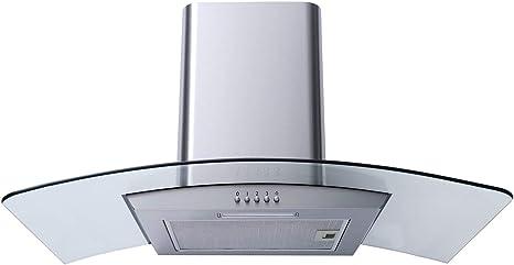 SIA CG91SS - Extractor de campana de cocina (cristal curvado, 90 cm, acero inoxidable): Amazon.es: Grandes electrodomésticos