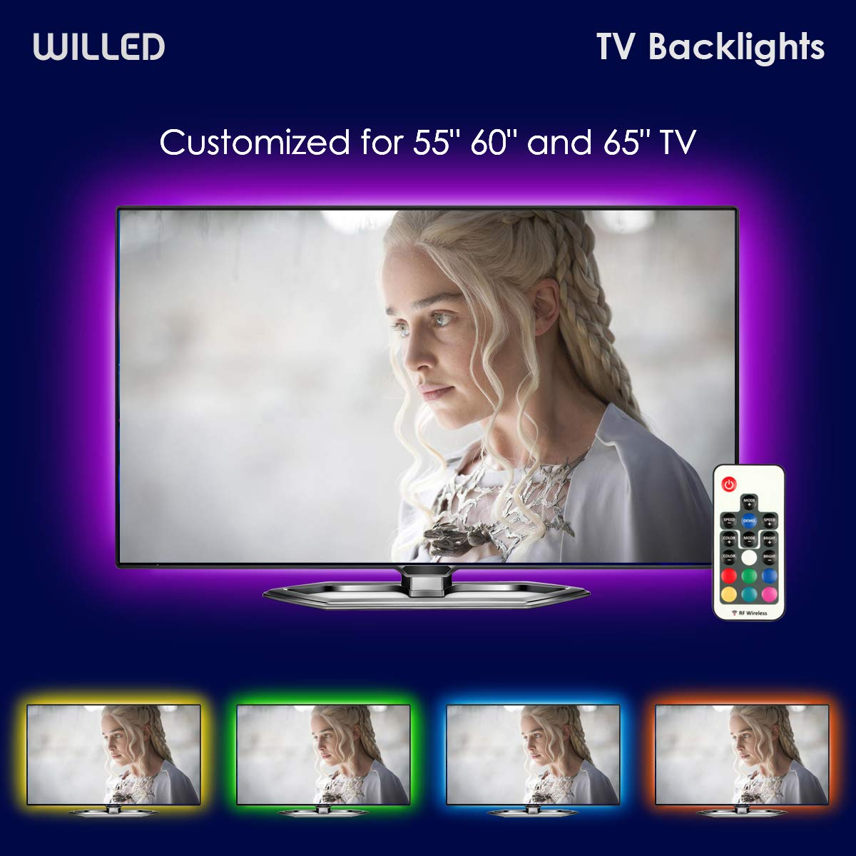 TV LED Backlight, WILLED USB LED Strip Lights kit Customized for TV 55 60 65 inch Monitor Bias Lighting RGB Light Strip 12.6ft with RF Remote