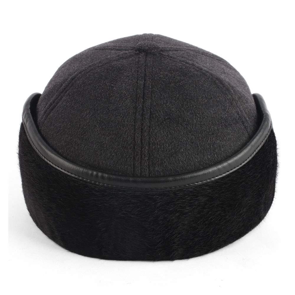 YOYEAH Winter Wool Baseball Cap Outdoor Windproof Fleece Earflap Hat Soft Faux Fur Hunting Hat for Men Black by YOYEAH (Image #3)