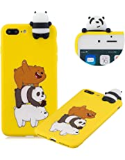 Cute Painted Cartoon Case for iPhone 7 Plus,Soft Silicone Case for iPhone 8 Plus,Moiky Funny 3D Three Bears Cartoon Animals Pattern Design Ultra Thin TPU Rubber Shockproof Protective Case