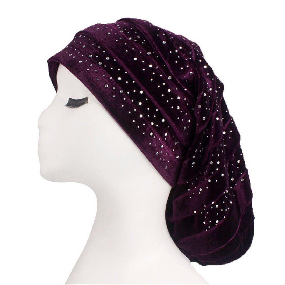 Qhome Diamante Velvet Ruffle Turban Dreadlock Sleeping Cap Baggy Hat for Hair Loss Women Headwrap Slouch Caps Headwear Hijabs