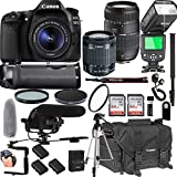 Canon EOS 80D With 18-55mm IS STM + Tamron 70-300mm + 128GB Memory + Canon Deluxe Camera Bag + Pro Battery Bundle + Power Grip + Microphone + TTL Speed Light + Pro Filters,(24pc Bundle)