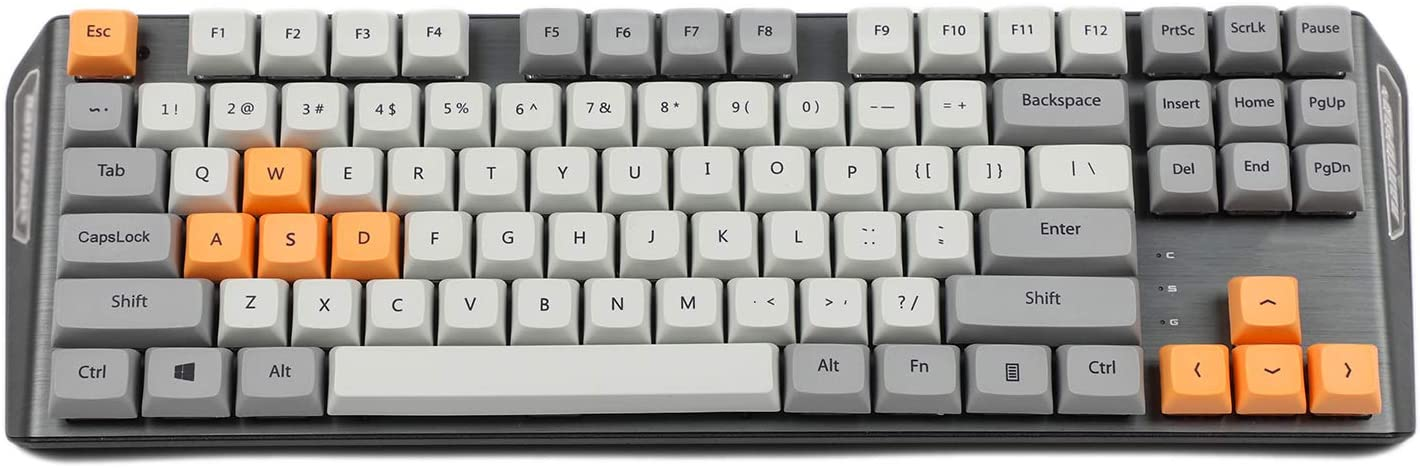 New Arrial XDA 87 ANSI Gray Orange Mixed Keyset Dye-sub Dye Sublimation Keycaps for MX Mechanical Keyboard TKL 61 Filco IKBC (Only Keycap)