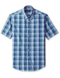 Haggar Men's CVC Tonal Plaid Short Sleeve Shirt