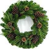 26' Juniper Pine Wreath (30' Fully Opened) - Accurately Mimics Texture and Color of Natural, Freshly Cut Pine Needles - Adorned with Select Cones & Cedar Sprigs - Designer Preferred Look