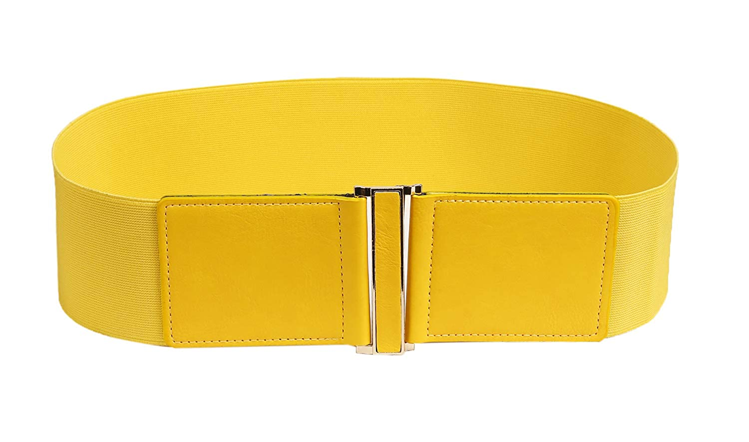 Yellow Modeway 3  Wide Stretch Elastic Cinch High Waist Belts For women With gold Buckle