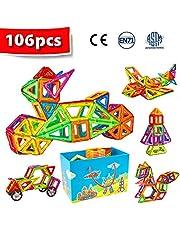 Crenova Magnetic Blocks 106pcs Magnetic Building Blocks Magnetic Construction Set Included Ferris Wheels Carrying Bag Booklet Toys for Kids