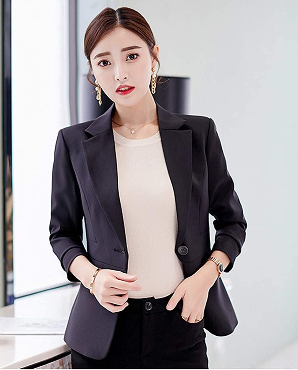 Uni-Wert Womens Blazer Casual Business Lapel Long Sleeve One Button Work Office Jacket