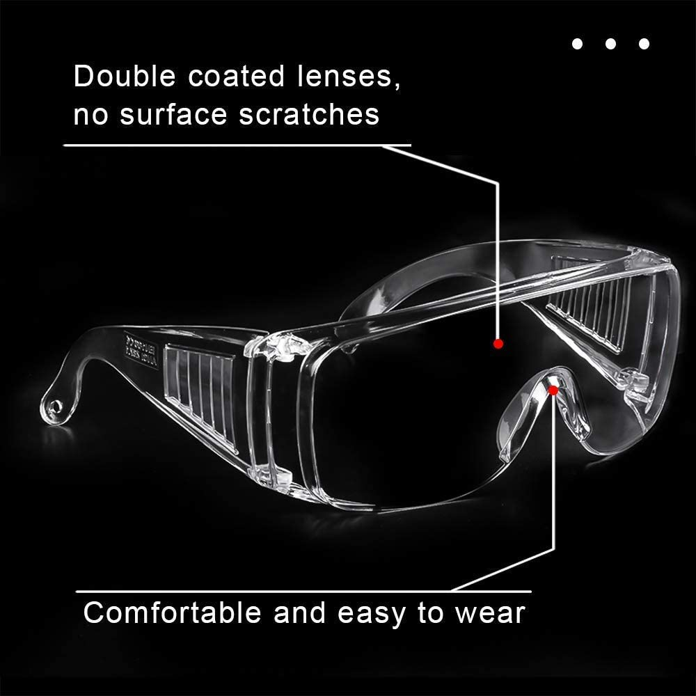 3PCS Safety Glasses Virus Protection Goggles Prevent Saliva Clear Transparent Anti Fog Anti Apatter Safety Goggles Personal Defense Equipment