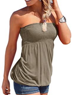 2734ce81df Emma Women s Sexy Sleeveless Stretchy Pleated Tank Tops Elasticated Soft  Ruched Tube Shirt Strapless Bandeau Boob