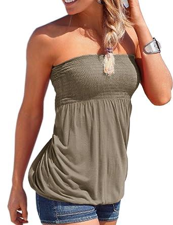 fa99e9e236 Emma Women s Sexy Sleeveless Stretchy Pleated Tank Tops Elasticated Soft  Ruched Tube Shirt Strapless Bandeau Boob