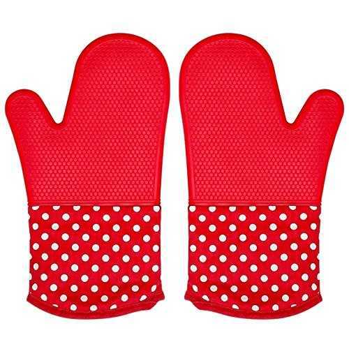 WARMTHOU Silicone Oven Mitts Heat Resistant to 572°F Professional Grade Kitchen Non-Slip Oven Gloves Potholders for Baking Cooking Microwave Pizza BBQ - 1 Pair (Red) (Professional Pizza Oven)