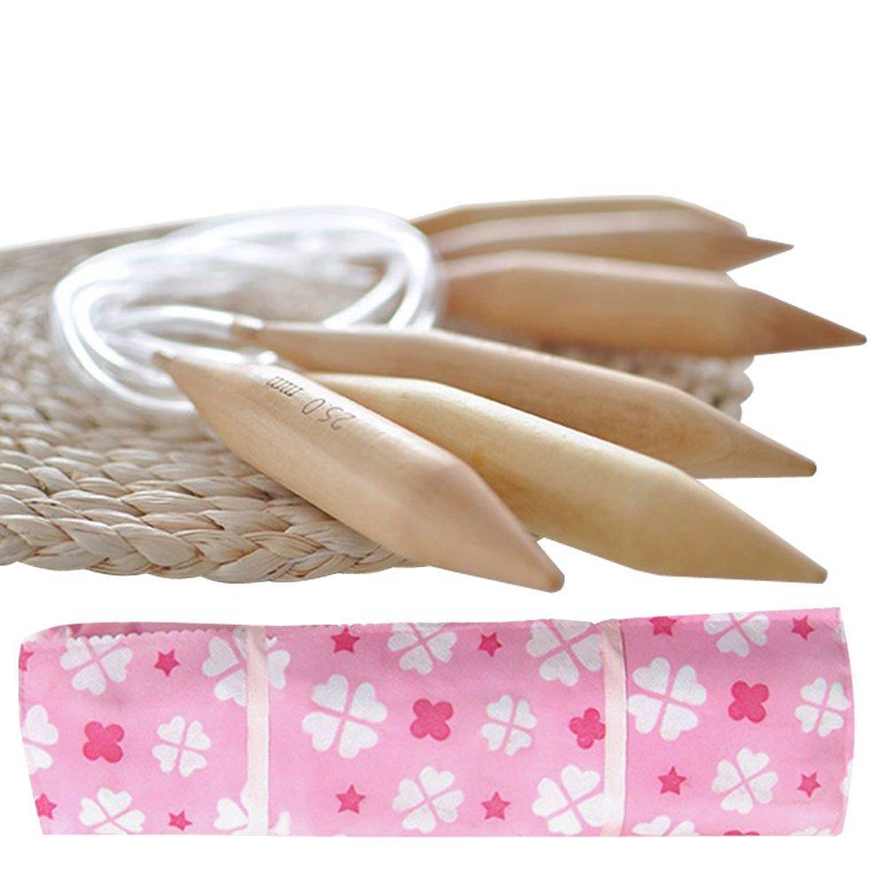 47 Jumbo Wooden Circular Knitting Needles Set of 3 I Chunky Yarn (US Sizes 19, 35 & 50) with Bonus Travel Case+Ebook | Snag Free | Great Knitters Gift (47 Inches) Mehousa
