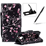 Strap Leather Case for Moto G6 Plus,Flip Portable Carrying Case for Moto G6 Plus,Herzzer Premium Stylish Colorful Printed Foldable Full Body Folio Pu Leather Stand Cover with Card Slots