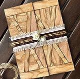 Barn door wedding invitation set with real wood