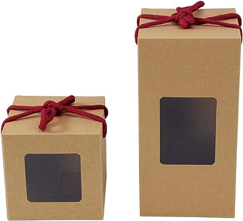 Decoración Navidad 10 Unids/Lote Caja de Regalo de Papel Kraft con Fiesta de Ventana de PVC/Bolsas de Regalo de Boda Chocolates/Caja de Envasado de Alimentos de Caramelo 2 Tamaño: Amazon.es: Hogar