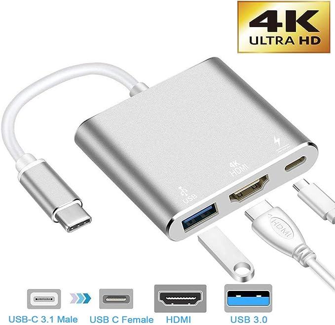 neefeaer Adaptador USB C a HDMI, Hub Tipo C USB 3.1 a HDMI 4K / USB 3.0 / USB C Compatible con MacBook Air 2018 Galaxy Note8 / S8 + / S9: Amazon.es: Electrónica