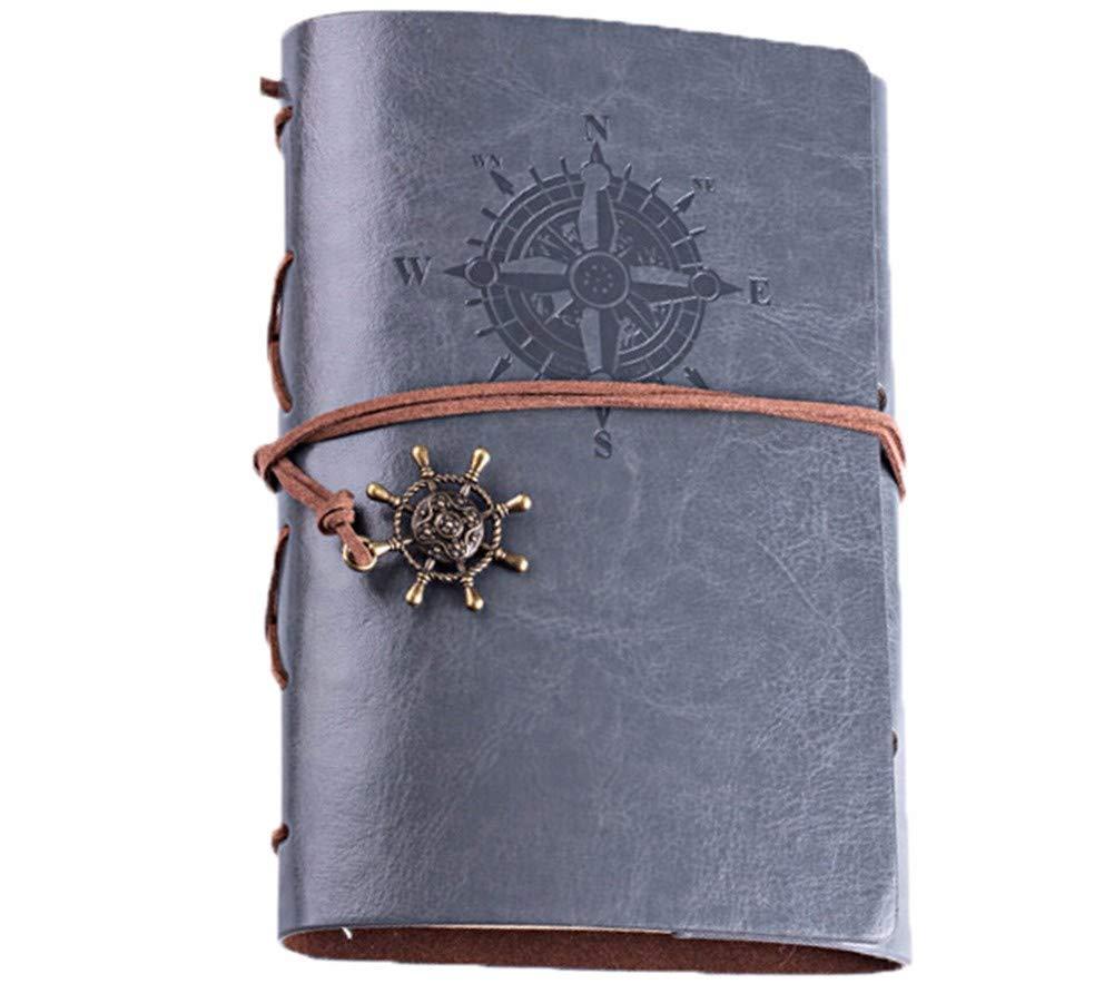GQQ Cuaderno Encuadernado De Revistas Vintage, Diario De A6, Viaje A6, De Revista De Cuero De Página Rellenable, Encuadernación En Espiral, 160 Páginas De Papel Blanco b141da