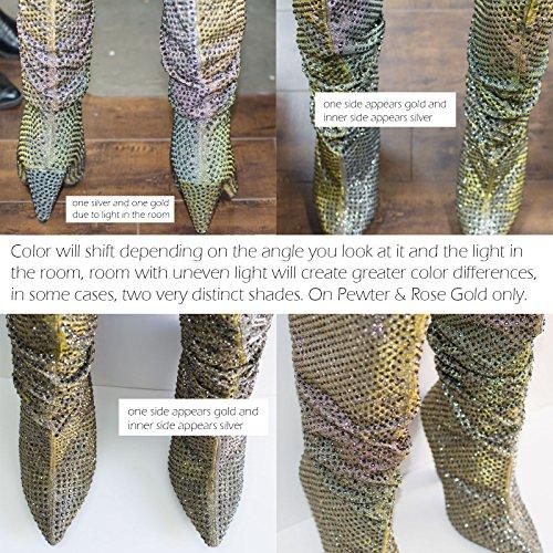 Bambus Retro Rhinestone Forskjønnet Glitter Støvlene På Kjeglen Avsmalnende Hæl Rose Gull