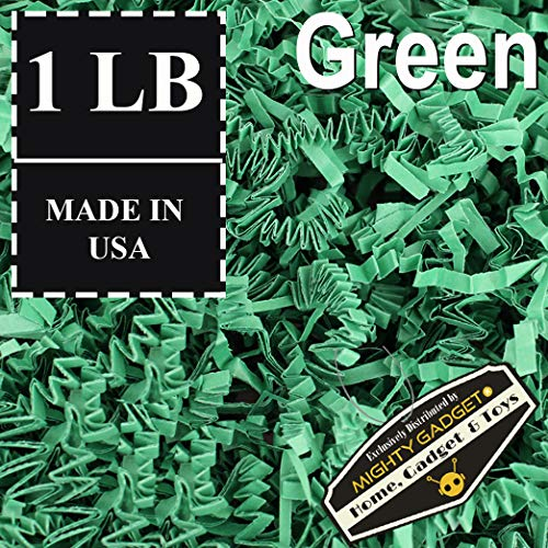 Mighty Gadget (R) 1 LB Green Crinkle Cut Paper Shred Filler for Gift Wrapping & Basket Filling