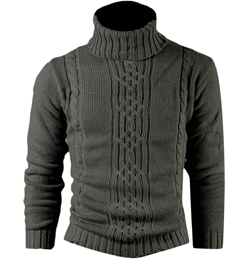 Generic Mens Fashion Ribbed Slim Knitted Pullover Turtleneck Long Sleeve Sweater