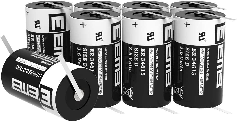 EEMB 3.6 V Lithium Battery with Tabs D Size ER34615 19000 mAh Li-SOCL2 UL Certified Non Rechargeable 3.6 Volt Lithium Thionyl Chloride Battery 4