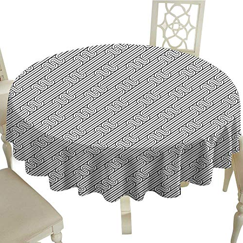 crabee Round Tablecloth Abstract,Monochrome Classic Curved Line Bands with Diagonal Swirls Optic Effects Graphic,Black White D54,for Wedding Reception Nave Blue