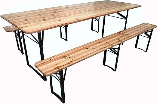 Tavoli Panche Birreria Offerte.Michele Sogari Set Birreria Completo Tavolo 220 X 80 X 76 Con