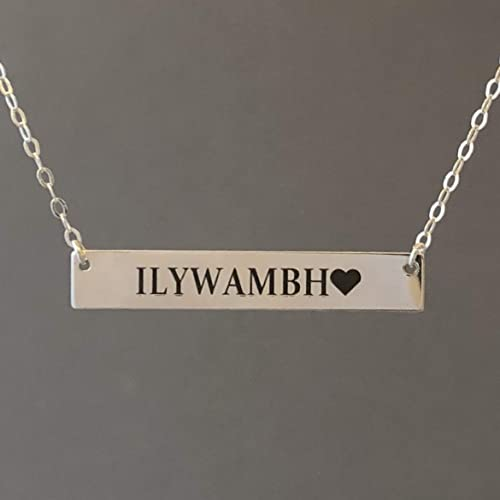1.5 Inch Personalized Engraved Gold Bar Nameplate Necklace Rose Gold Fill Silver