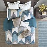 King Size Cotton Comforter Sets Ink+Ivy Alpine King/Cal King Size Bed Comforter Set - Aqua, Grey, Ivory, Pieced Chevron - 3 Pieces Bedding Sets - 100% Cotton Bedroom Comforters