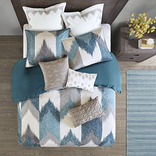 Ink+Ivy Alpine King/Cal King Size Bed Comforter Set – Aqua, Grey, Ivory, Pieced Chevron – 3 Pieces Bedding Sets – 100% Cotton Bedroom Comforters