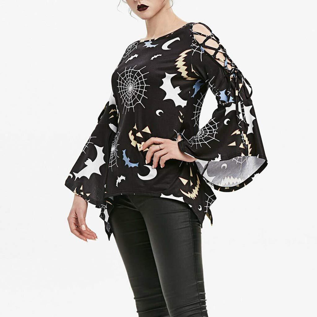 SIOPEW Pullover Damen Elegant Winter Halloween Bedruckte Ausgeschnittene Asymmetrische T Shirt Top Bluse Oberteile Casual Langarm M/äDchen Sweatshirt