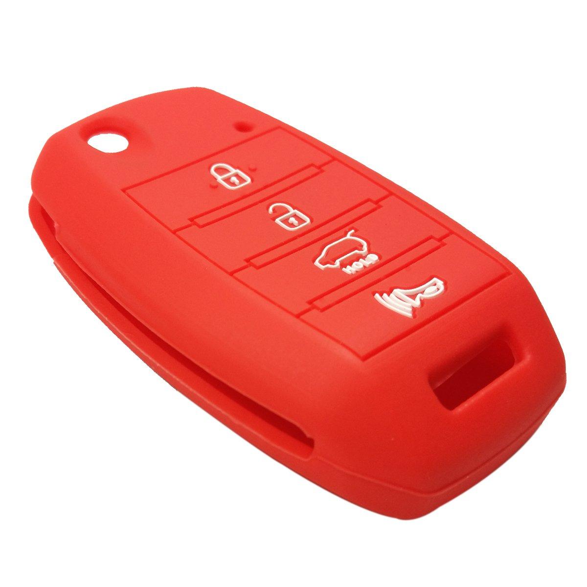 Coolbestda 2Pcs Silicone 4buttons Flip Folding Key Fob Remote Skin Cover Protector Keyless Entry Case for Kia Sorento Sportage Rio Soul Forte Optima Carens Black Blue (Not Fit Smart Key Fob)
