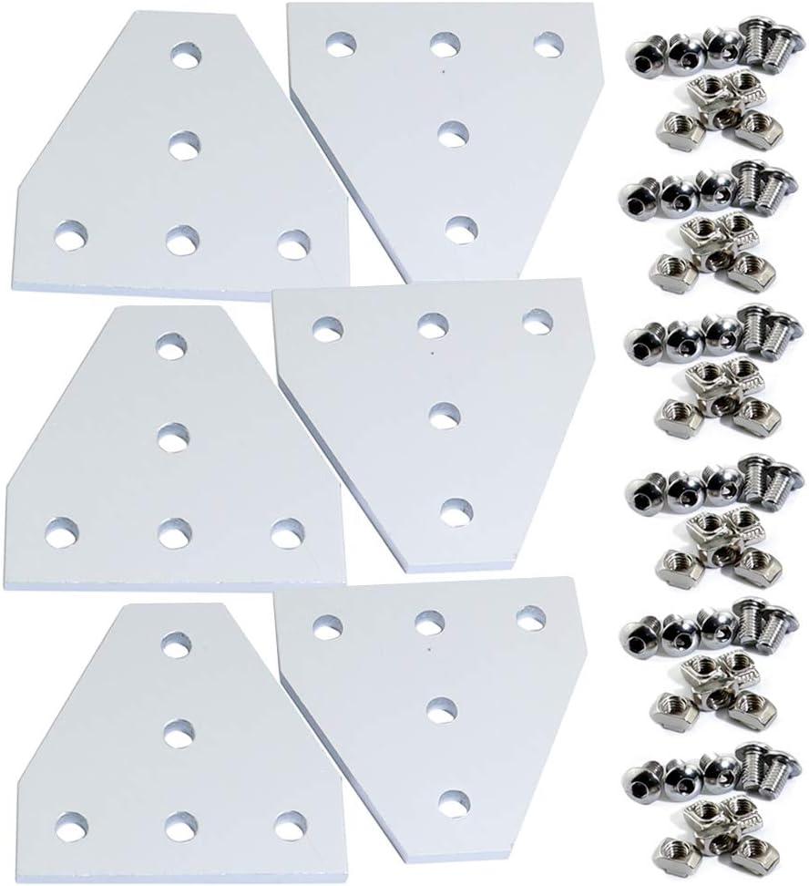 KOOTANS 2pcs//lot New 5 Hole 90 Degree Joint Board Plate Corner Angle Bracket Connection Joint Strip for Slot 8mm 3030 Aluminum Profile 3D Printer Frame