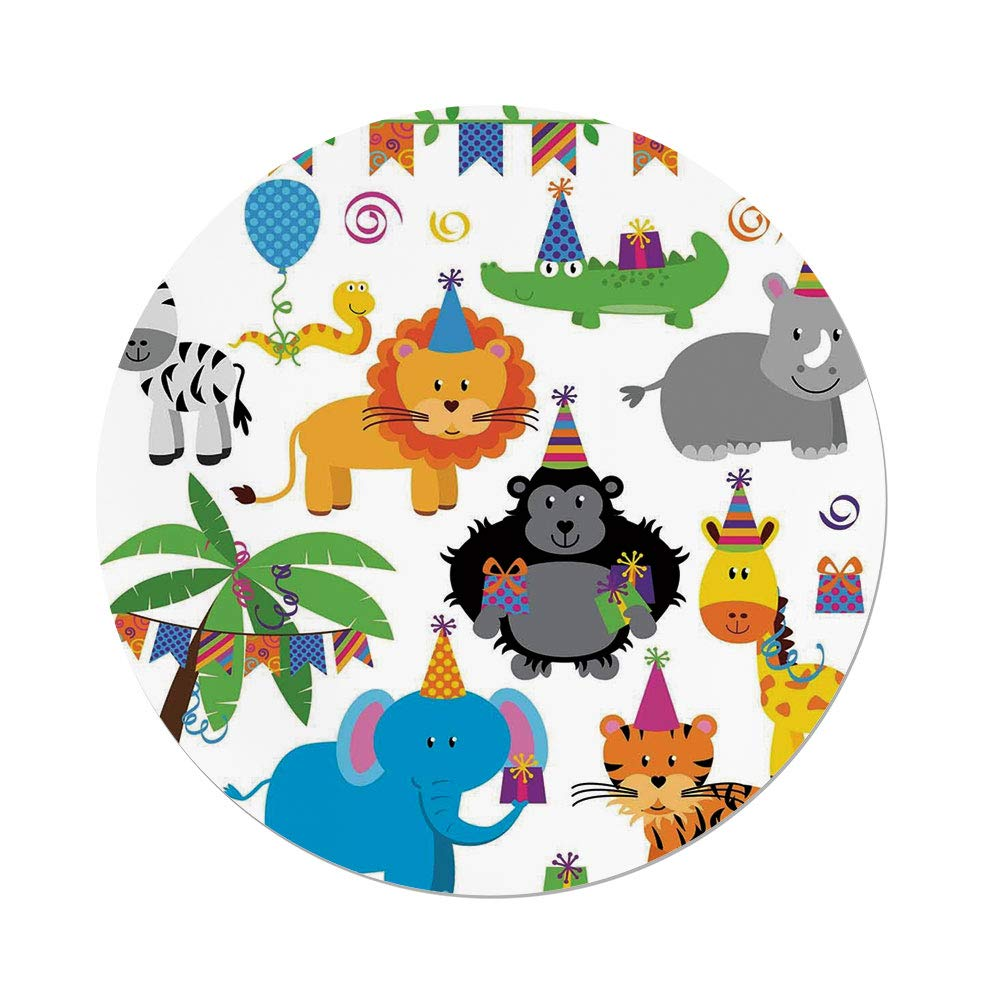 iPrint Polyester Round Tablecloth,Birthday Decorations Kids,Jungle Wild Animals in Cartoon Pattern Party Hats Flags Image,Multicolor,Dining Room Kitchen Picnic Table Cloth Cover Outdoor Indoor