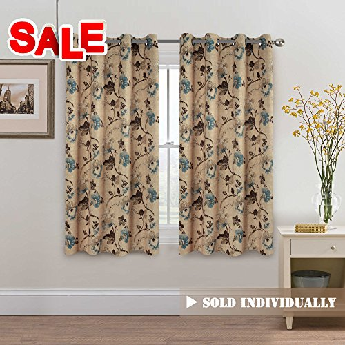 H.Versailtex Vintage Rustic Style Printed Design Room Darkening Blackout Curtain Panels with Antique Grommet Top, Set of 1 Panel, W52 x L63 inch-Taupe and Aqua and Brown Floral (Bedroom Vintage Bedroom Set)