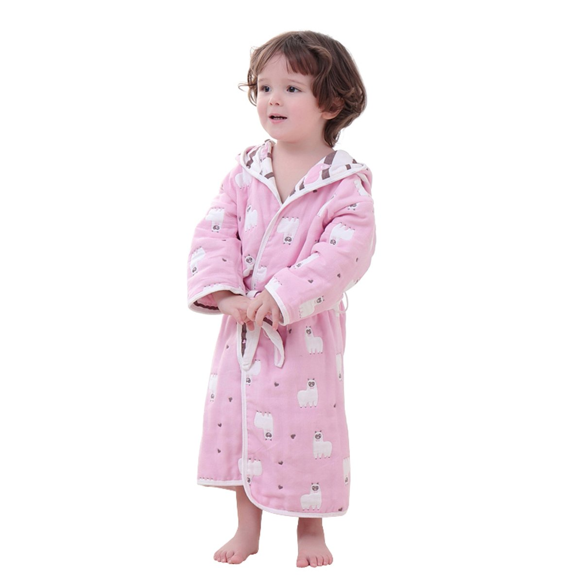 TOLLION 100% Organic Cotton Boys And Girls Hooded Robe Kids Bathrobe Nightgown (S: 5-6 Years, Pink Alpaca)